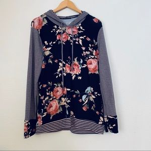 Staccato Striped/Floral Hooded Top